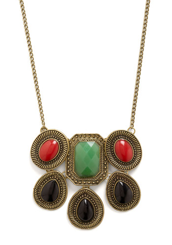 Gem Class Necklace - Gold, Red, Green, Black