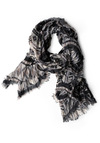 Stills of the Southwest Scarf - White, Print, Fringed, Grey, Black, Casual