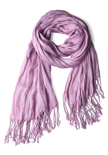 Crinkle in Time Scarf in Lilac - Casual, Purple, Solid, Fringed, Pastel, Minimal