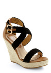 Sunset Slopes Wedge - Black, Tan / Cream, Solid, Scallops, Woven, Quilted, Wedge