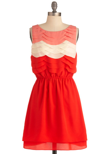 Tiers the Place Dress - Mid-length, Red, Scallops, A-line, Tank top (2 thick straps), Casual, Multi, Orange, White, Tiered, Summer, Coral