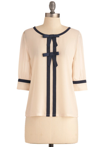 Brandi's Something in the Era Top - Mid-length, Vintage Inspired, Cream, Blue, Solid, Bows, Trim, 3/4 Sleeve, Work, Steampunk, Sheer, French / Victorian