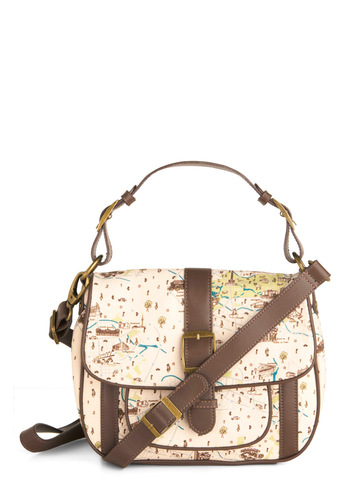 Know Your Way Around Bag - Cream, Brown, Novelty Print, Buckles, Pockets, Trim