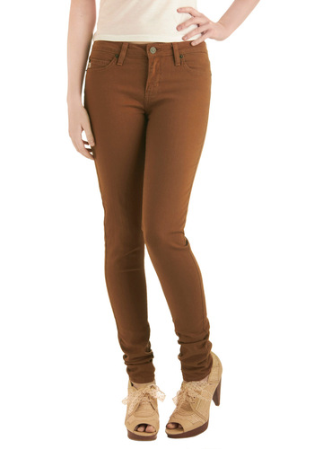Oohs and Auburns Jeans - Casual, Brown, Solid, Pockets, Long, Denim