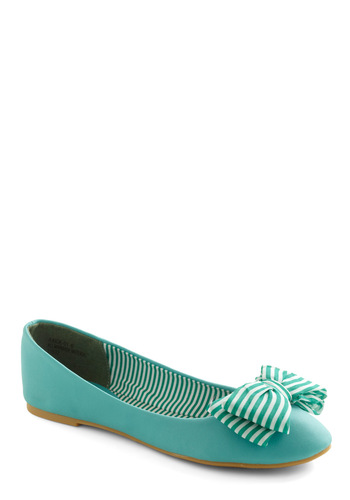 Sail Bow Flat - Green, White, Stripes, Bows, Casual, Flat