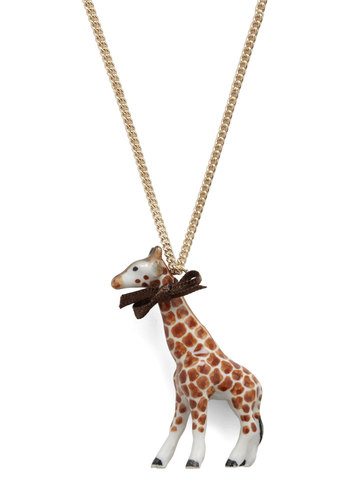 Neck and Necklace by And Mary - Brown, Bows, White, Gold, Animal Print