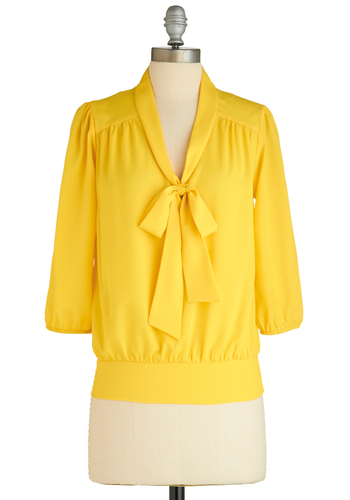 Sample 1710 - Yellow, Solid, Bows, Casual, Vintage Inspired, 3/4 Sleeve, Mid-length