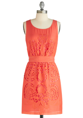 Elegant Engravings Dress - Mid-length, Orange, Print, Cutout, Shift, Tank top (2 thick straps), Embroidery, Party, Belted, Coral