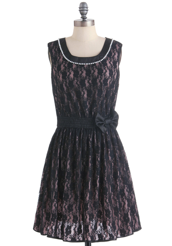 Material Pearl Dress - Mid-length, Black, Pink, Bows, Lace, Pearls, A-line, Party, 80s, Wedding, Sleeveless, Holiday Party, Sheer