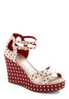 Rachel Antonoff for Bass Vice Versa Wedge in Cherry by Bass - Polka Dots, Cutout, Red, White, Party, Wedge