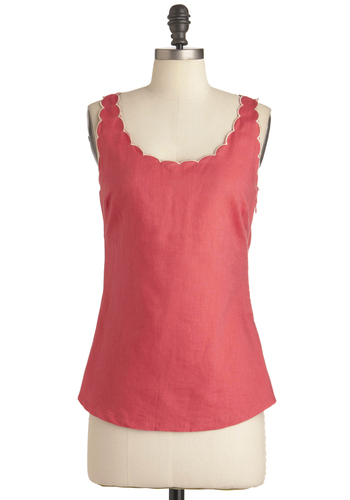 Guava Love It Top by Tulle Clothing - Pink, Solid, Scallops, Trim, Casual, Tank top (2 thick straps), Summer, Mid-length