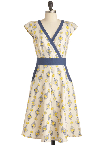 Kitchen Window Dress by Mata Traders - Long, Yellow, Blue, Pockets, Trim, A-line, Cap Sleeves, Casual, Vintage Inspired, Multi, Tan / Cream, Print