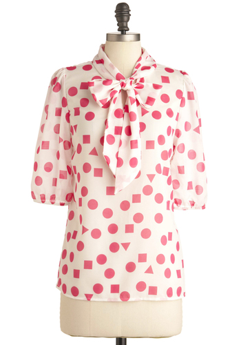 Substitute Teacher Top in Pink - Red, White, Print, Work, 3/4 Sleeve, Mid-length, Tie Neck, Sheer