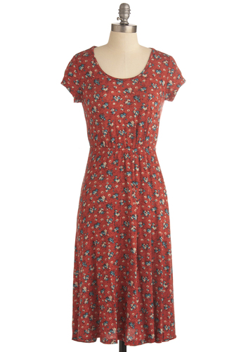 Outdoor Concert Dress - Long, Red, Blue, Tan / Cream, Floral, Short Sleeves, Casual, Top Rated