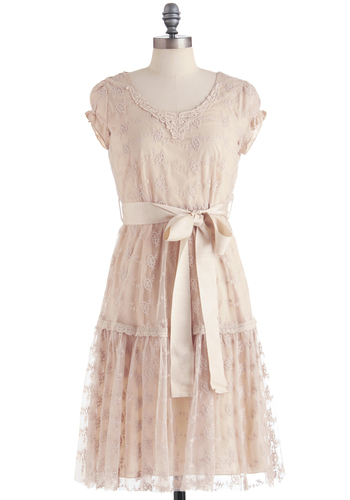 Tender Love and Flair Dress - Long, Lace, Shift, Cap Sleeves, Vintage Inspired, Pink, Spring
