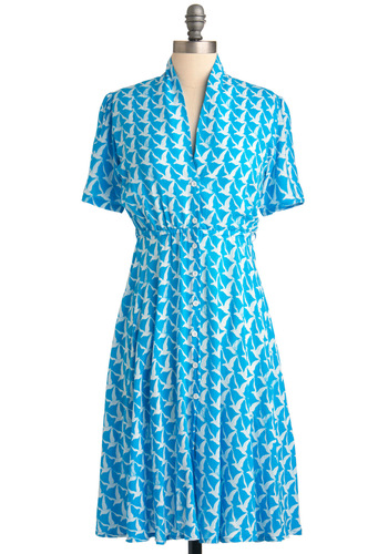Stand the Tessellation of Time Dress by Motel - Long, Work, Vintage Inspired, 40s, Blue, White, Print with Animals, Shirt Dress, Short Sleeves