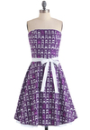 Sittin' Pretty Dress - Purple, White, Novelty Print, A-line, Strapless, Party, Long