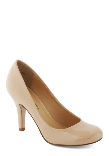 Success is Simple Heel - Solid, Work, Tan, Faux Leather, Mid, Graduation