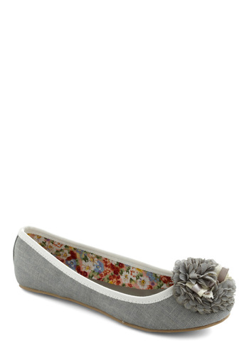 Matte's the Ticket Flat - Grey, White, Solid, Bows, Flower, Lace, Trim, Casual