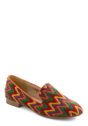 I Zig Your Style Flat - Multi, Red, Orange, Yellow, Green, Purple, Stripes, Woven, Casual, Flat