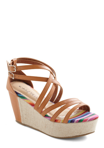 Strand Right Here Wedge - Brown, Multi, Casual, Wedge