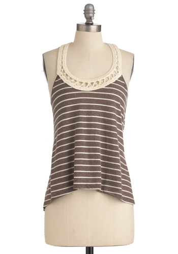 Charleston in Charge Top - Brown, Tan / Cream, Casual, Racerback, Summer, Stripes, Boho, Crochet, Mid-length