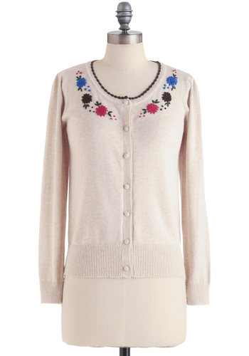 By the Bookstore Cardigan - Cream, Multi, Solid, Embroidery, Flower, Trim, Work, Vintage Inspired, 50s, Long Sleeve, Spring, Mid-length