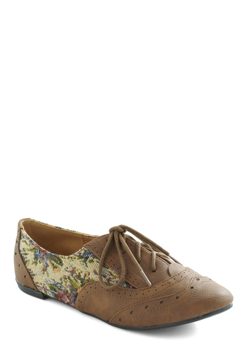 Tour Every Wingtip Flat - Brown, Multi, Multi, Floral, Casual