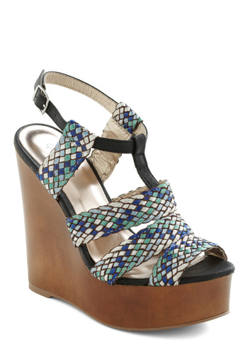 Make the Coast of It Wedge - Multi, Green, Blue, Brown, Black, White, Casual, Woven, Summer, Wedge