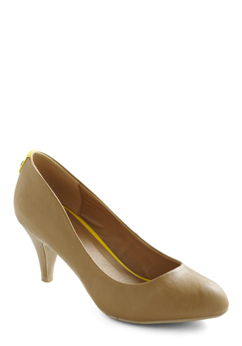 Pop By Heel - Brown, Yellow, Solid, Work, Mid, Faux Leather
