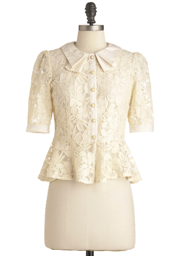 Piano Teacher Top - Short, Vintage Inspired, Cream, Bows, Lace, Work, 40s, Short Sleeves, Pearls, Peplum, Sheer, Button Down, Collared