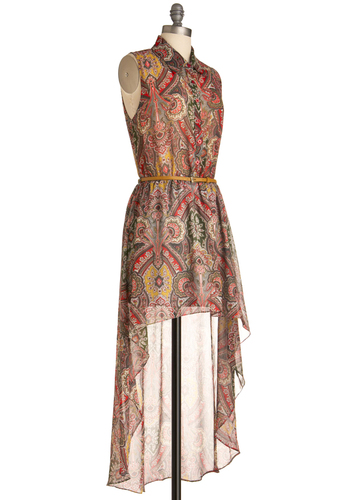 So Fresco Dress - Short, Multi, Paisley, Buttons, Sleeveless, Casual, Boho, Vintage Inspired, 70s, Multi, Sheath / Shift, Summer