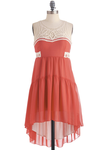 A Whole Gelato Love Dress - Mid-length, Tan / Cream, Solid, Crochet, Empire, Casual, Boho, Ruffles, Sleeveless, Summer, Sheer, Coral, High-Low Hem, Tis the Season Sale