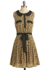 Flap Happy Dress - Mid-length, Tan, Black, Print with Animals, Buttons, Peter Pan Collar, Sleeveless, Casual, Vintage Inspired, Sheath / Shift, Belted, Collared