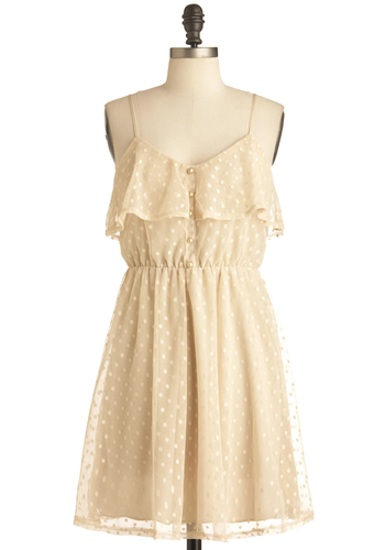 Fondant Memories Dress - Mid-length, Cream, Polka Dots, Buttons, Ruffles, Spaghetti Straps, Casual, Pearls, Sheath / Shift