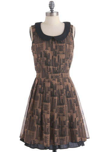 Downtown Darling Dress by Yumi - Mid-length, Brown, Black, Novelty Print, Peter Pan Collar, Pleats, A-line, Sleeveless, Casual, Vintage Inspired