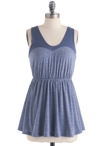 Over and Overcast Top - Blue, Solid, Casual, Tank top (2 thick straps), Long