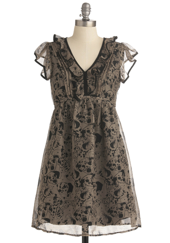 Doggone Cute Dress by Yumi - Short, Tan, Black, Print with Animals, Pleats, Ruffles, Empire, Cap Sleeves, Casual, Work, V Neck