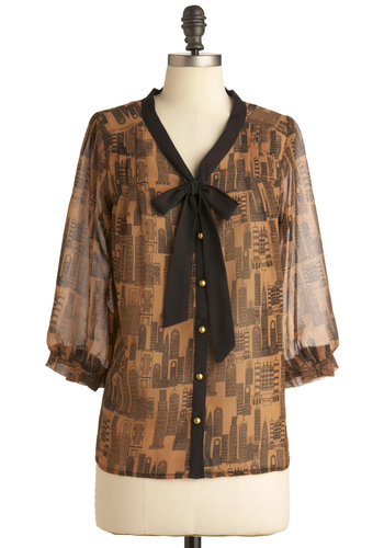 Downtown Darling Top by Yumi - Casual, Vintage Inspired, Brown, Black, Novelty Print, Buttons, 3/4 Sleeve, Mid-length