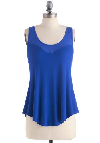 Tank a Look Top - Blue, Solid, Casual, Tank top (2 thick straps), Jersey, Mid-length