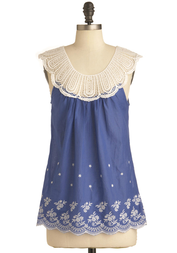 Morning Has Broken Top - Blue, White, Embroidery, Casual, Sleeveless, Summer, Folk Art, Floral, Crochet, Scallops, Mid-length