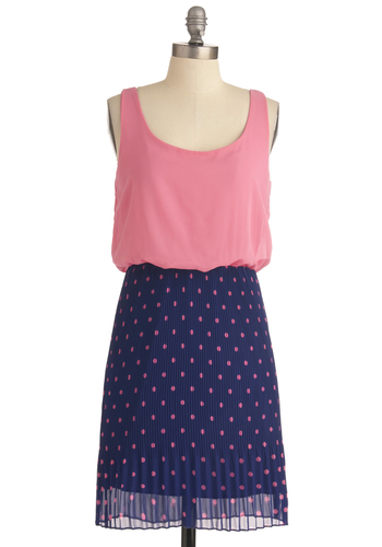Sweet as Can Be Dress - Mid-length, Blue, Pink, Polka Dots, Pleats, Twofer, Tank top (2 thick straps), Casual