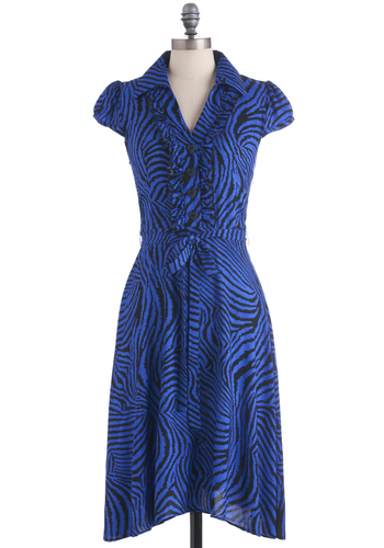 About the Artist Dress in Cobalt Swirls - Long, Blue, Black, Animal Print, Ruffles, Shirt Dress, Cap Sleeves