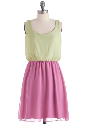 Watermelon Dew Dress - Mid-length, Green, Pink, Tank top (2 thick straps), Twofer, Casual, Spring, Pastel