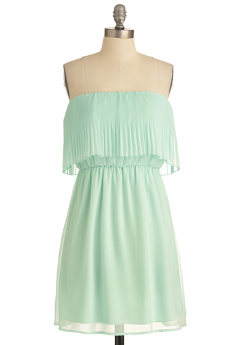 Dancing in the Breeze Dress - Green, Solid, Pleats, Strapless, Empire, Vintage Inspired, Party, Mid-length