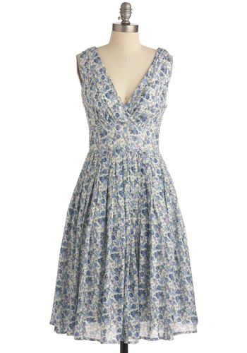 Terrace Wine Tasting Dress - Long, Multi, Green, Purple, Floral, Pleats, Casual, Vintage Inspired, 50s, Blue, White, A-line, Sleeveless, Spring, Fit & Flare