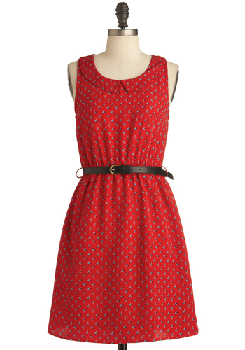 Darling Buds Dress - Mid-length, Red, Blue, White, Casual, Vintage Inspired, Black, Floral, Sheath / Shift, Sleeveless
