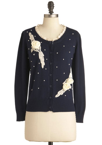 Around the Pearl-d Cardigan - Blue, Tan / Cream, Solid, Buttons, Flower, Lace, Pearls, 50s, Long Sleeve, Casual, Vintage Inspired, Bows