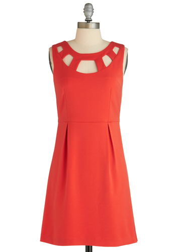 Sample 1719 - Orange, Solid, Cutout, A-line, Tank top (2 thick straps)