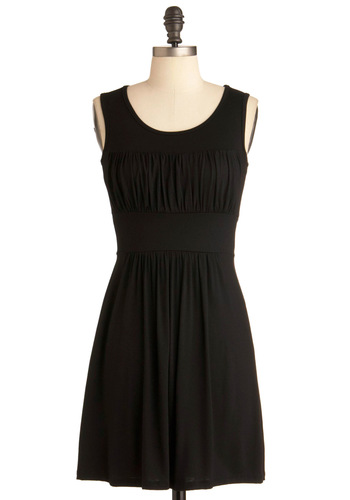 Simplicity Party Dress in Black - Black, Solid, Empire, Tank top (2 thick straps), Short, Casual, Jersey, Minimal, Variation